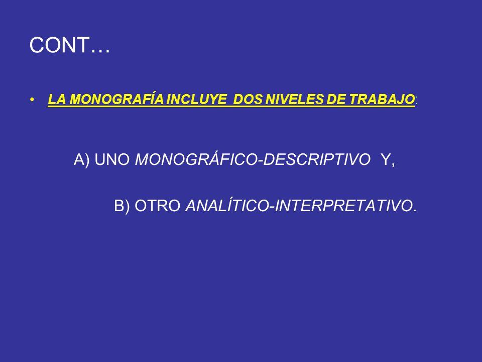 CONT… A) UNO MONOGRÁFICO-DESCRIPTIVO Y,