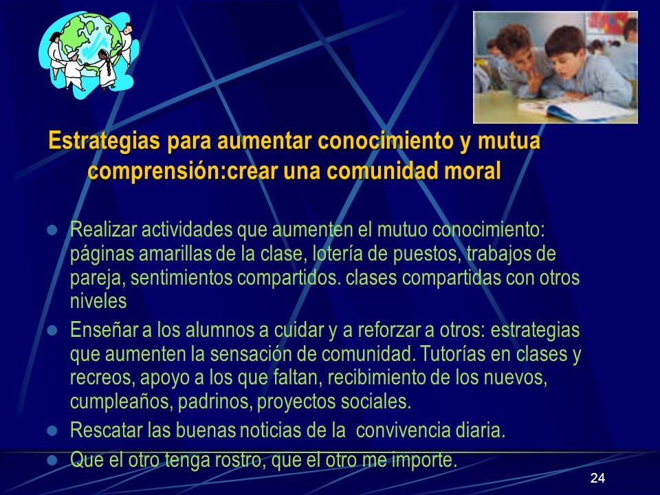 Estrategias para aumentar conocimiento y mutua comprensión:crear una comunidad moral
