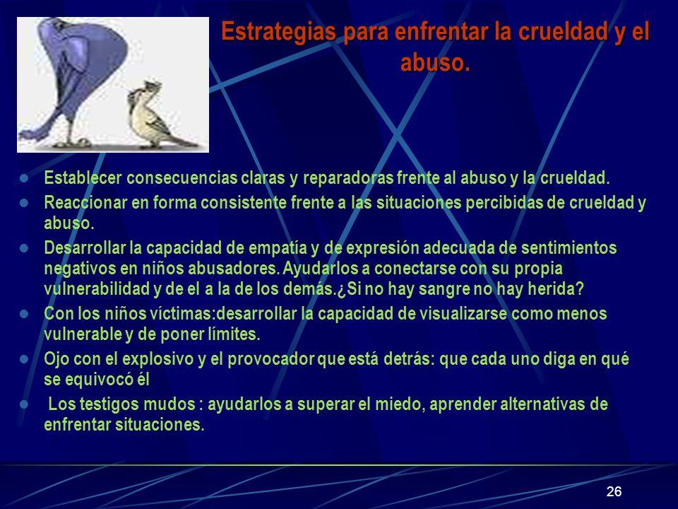 Estrategias para enfrentar la crueldad y el abuso.