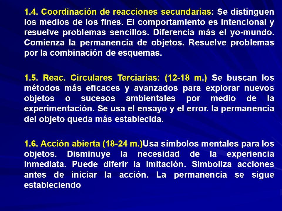1.4. Coordinación de reacciones secundarias: Se distinguen los medios de los fines. El comportamiento es intencional y resuelve problemas sencillos. Diferencia más el yo-mundo. Comienza la permanencia de objetos. Resuelve problemas por la combinación de esquemas.