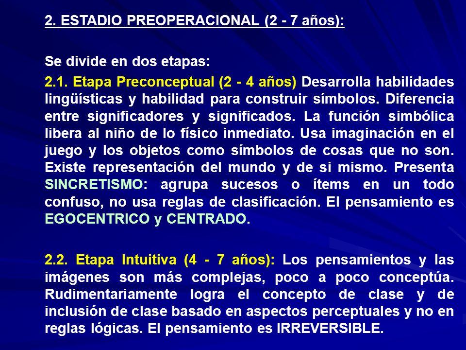 2. ESTADIO PREOPERACIONAL (2 - 7 años):