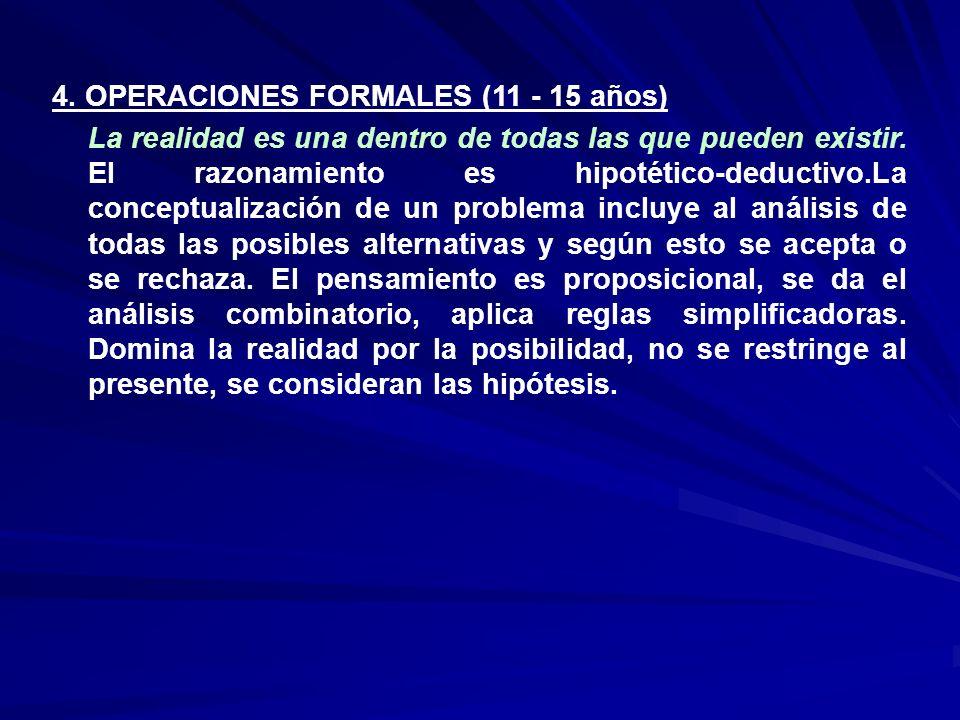 4. OPERACIONES FORMALES (11 - 15 años)