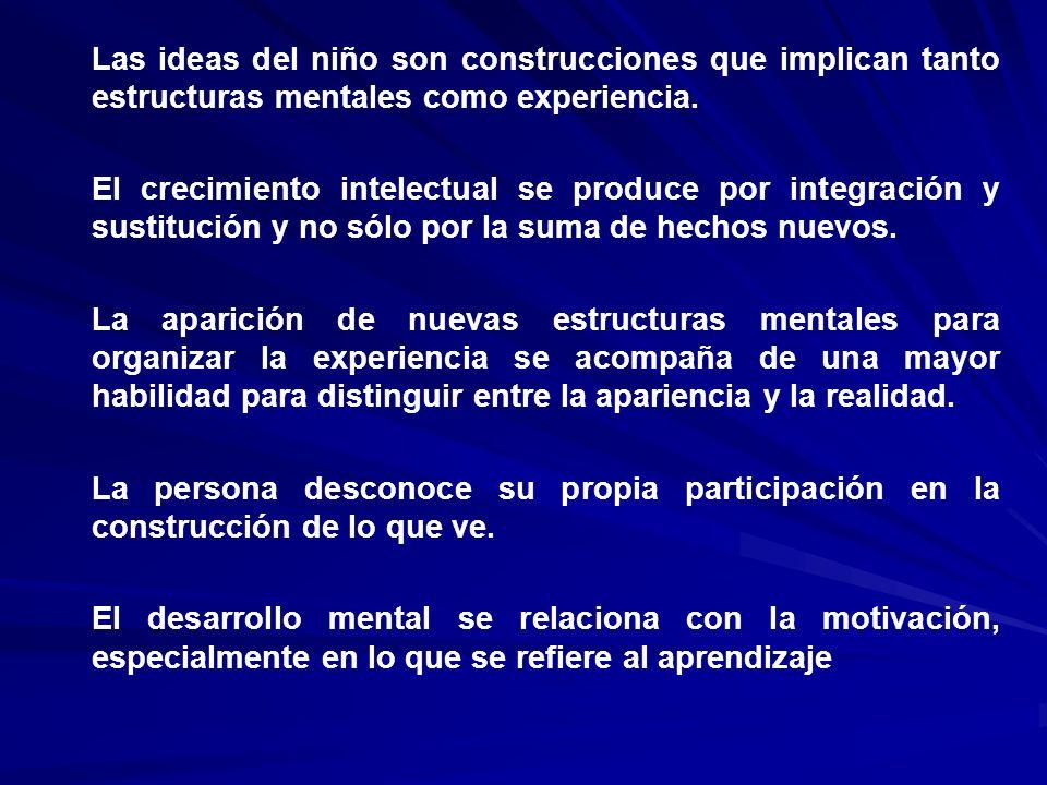 Las ideas del niño son construcciones que implican tanto estructuras mentales como experiencia.