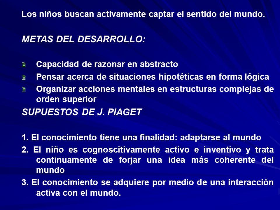 METAS DEL DESARROLLO: SUPUESTOS DE J. PIAGET
