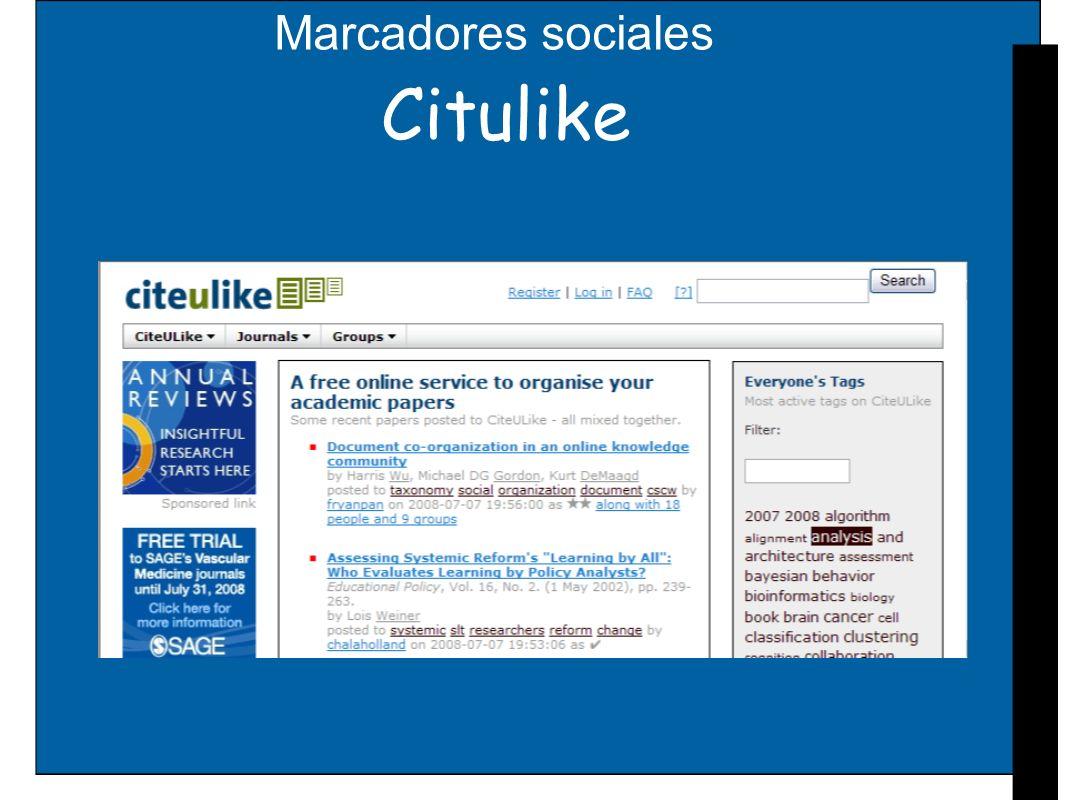 Marcadores sociales Citulike