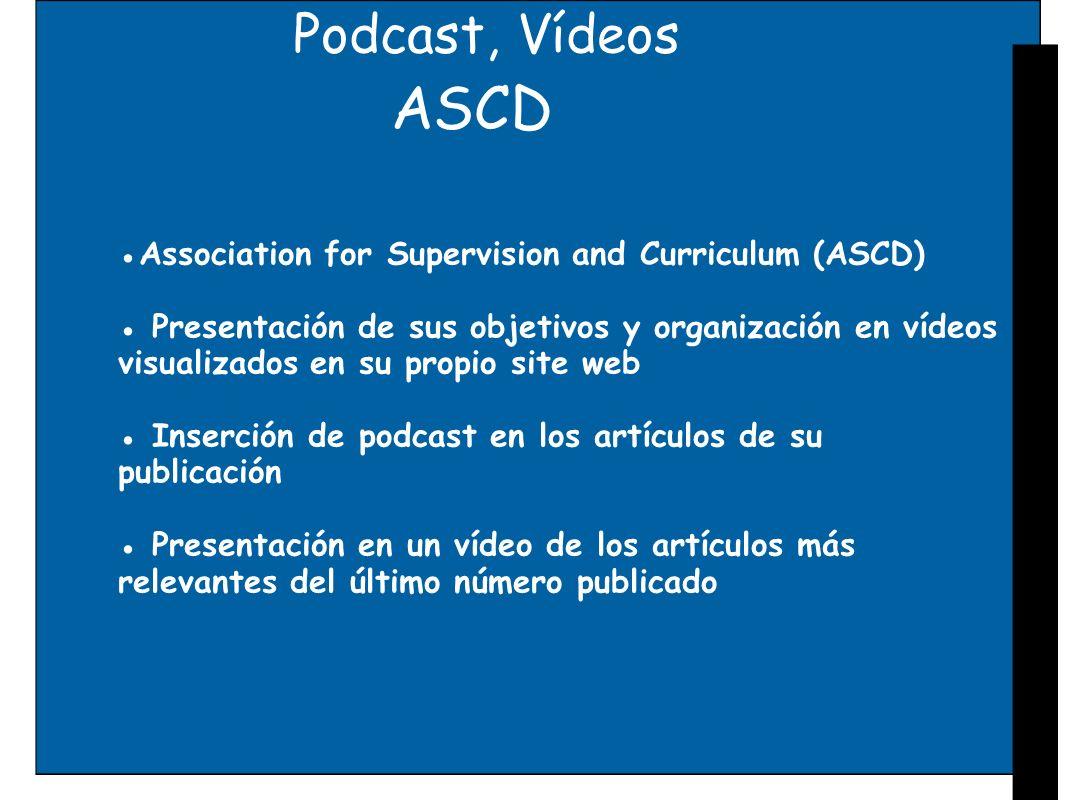 Podcast, VídeosASCD. ●Association for Supervision and Curriculum (ASCD) ● Presentación de sus objetivos y organización en vídeos.