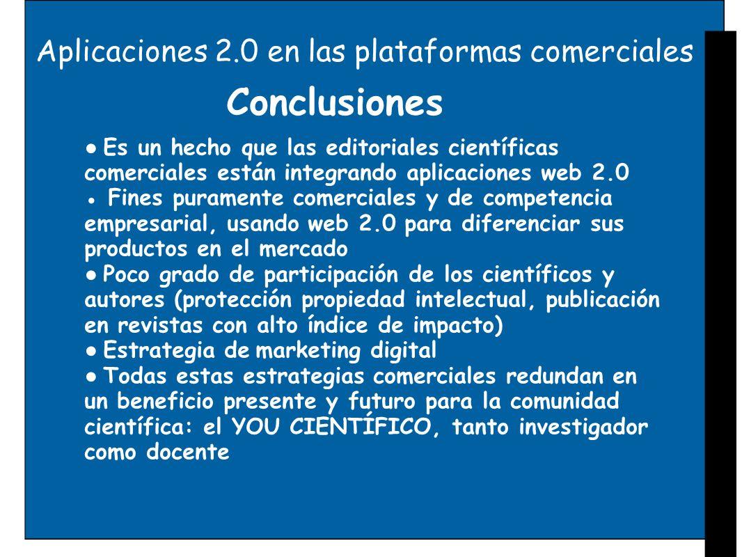 Conclusiones Aplicaciones 2.0 en las plataformas comerciales