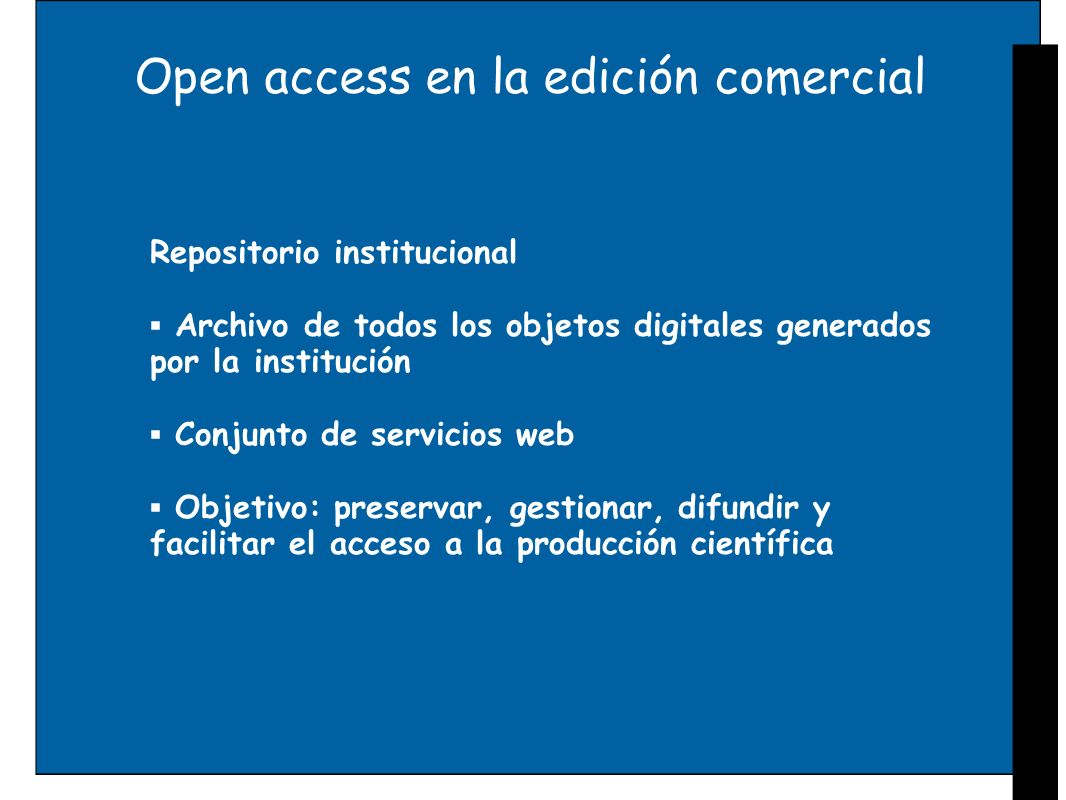 Open access en la edición comercial