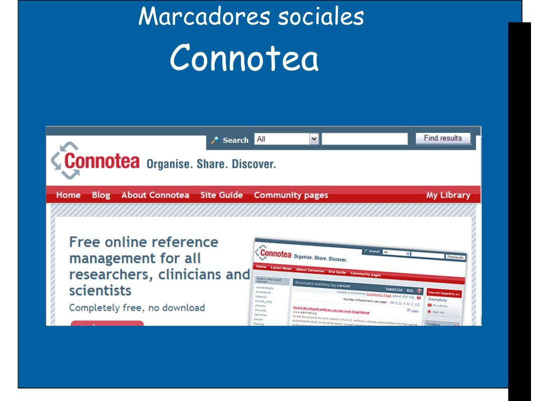Marcadores sociales Connotea