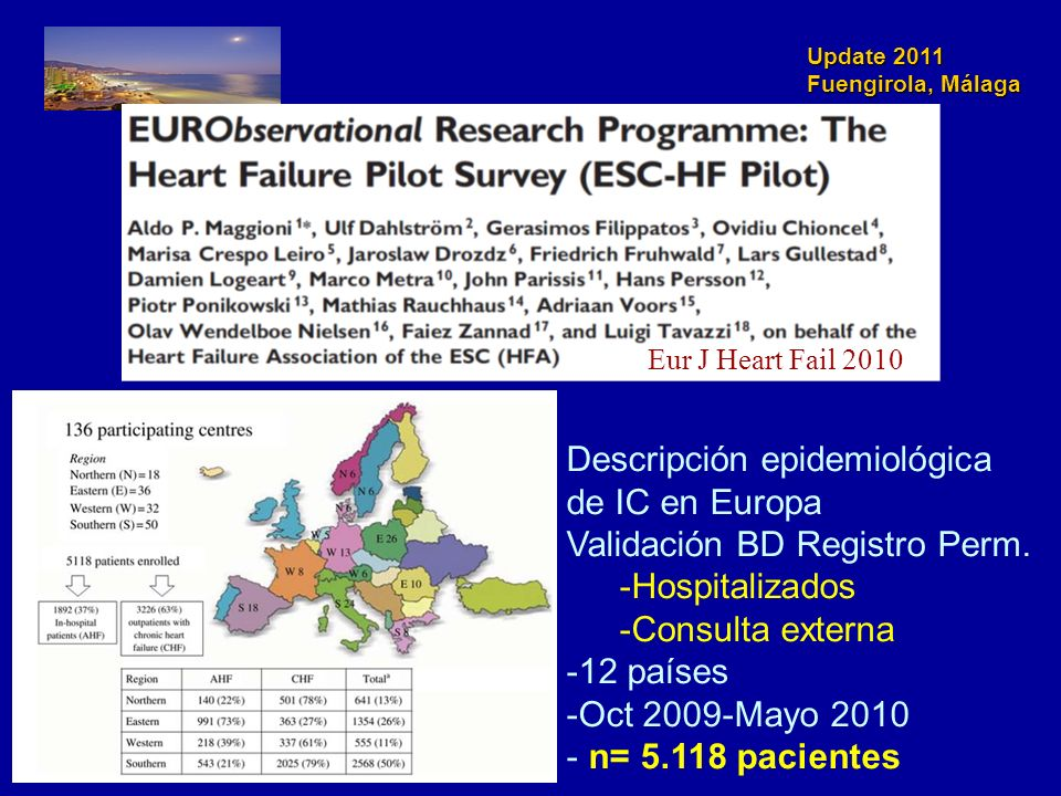 Descripción epidemiológica de IC en Europa