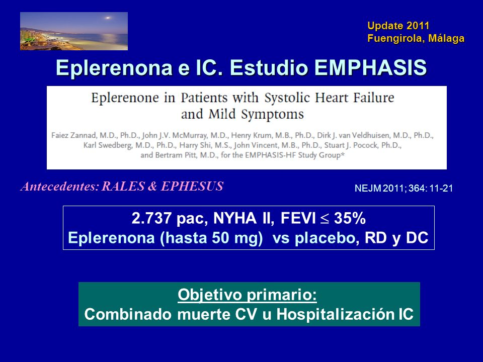 Eplerenona e IC. Estudio EMPHASIS