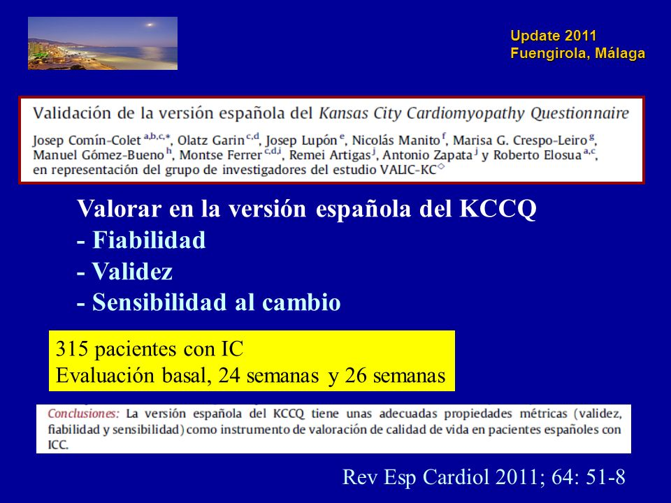 Valorar en la versión española del KCCQ - Fiabilidad - Validez
