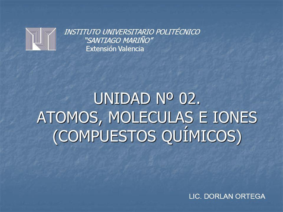 UNIDAD Nº 02. ATOMOS, MOLECULAS E IONES (COMPUESTOS QUÍMICOS)