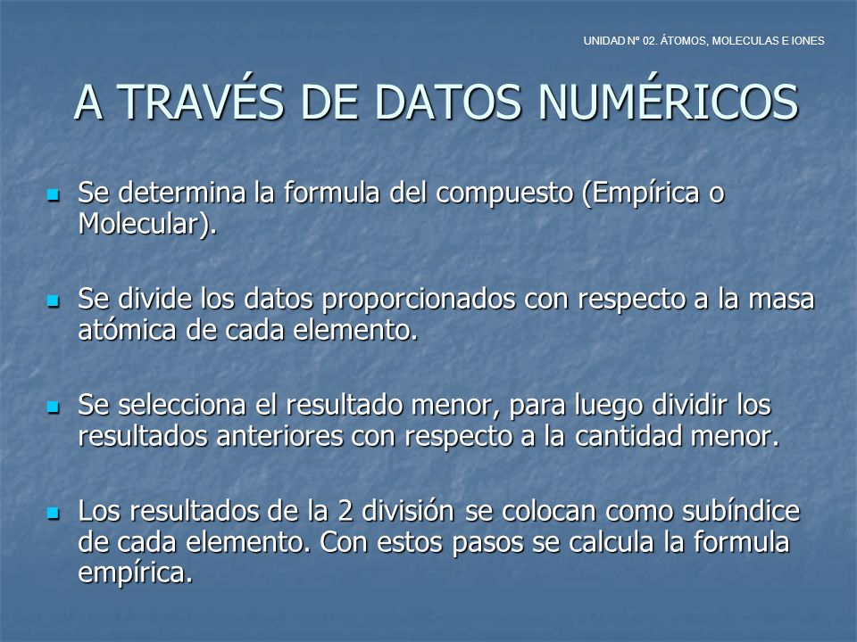 A TRAVÉS DE DATOS NUMÉRICOS