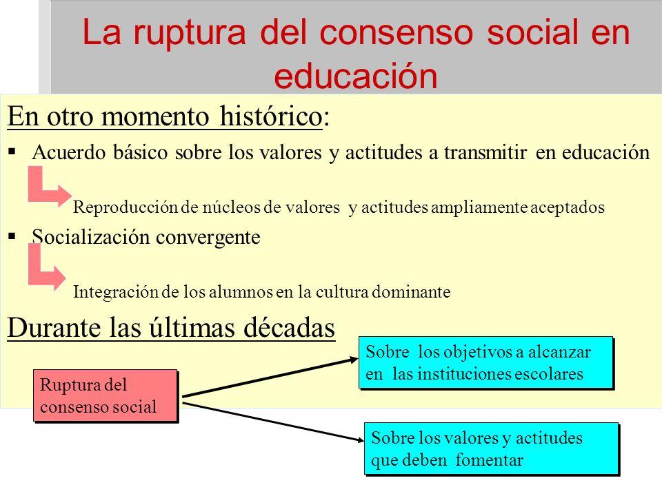 La ruptura del consenso social en educación