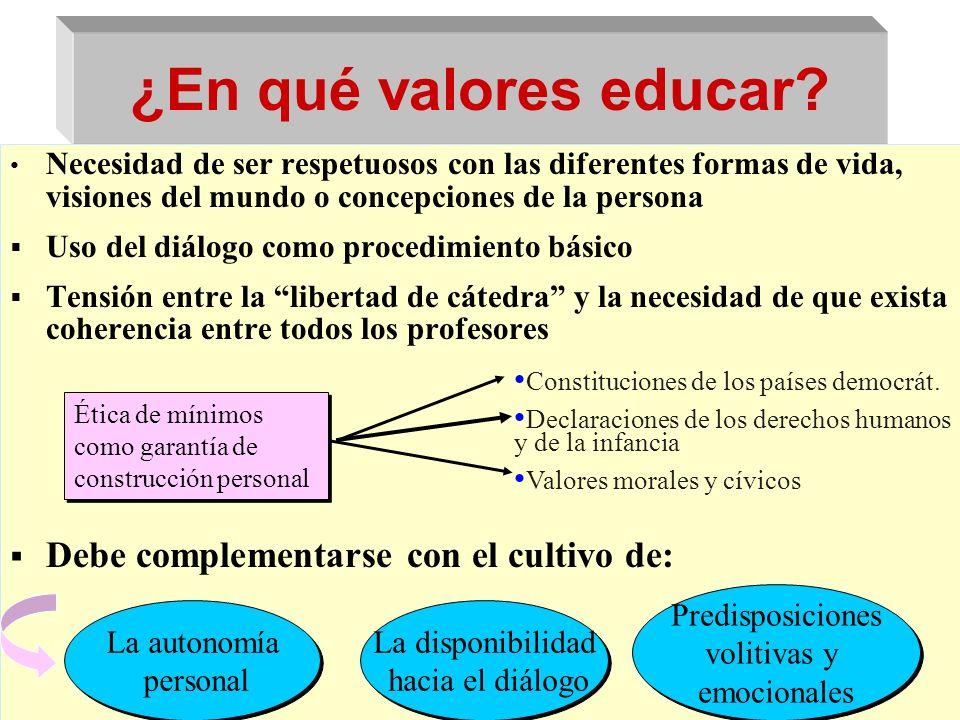 ¿En qué valores educar Debe complementarse con el cultivo de: