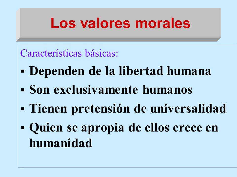 Los valores morales Dependen de la libertad humana