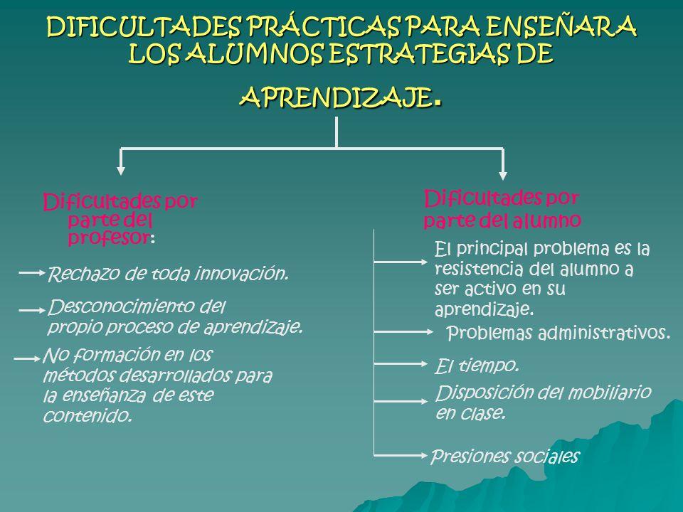 DIFICULTADES PRÁCTICAS PARA ENSEÑAR A LOS ALUMNOS ESTRATEGIAS DE APRENDIZAJE.