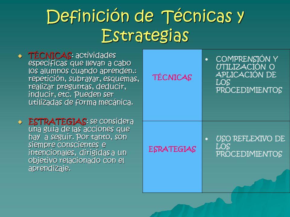Definición de Técnicas y Estrategias