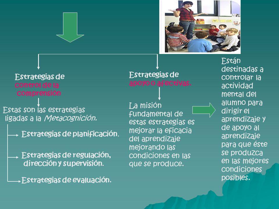 Están destinadas a controlar la actividad mental del alumno para dirigir el aprendizaje y de apoyo al aprendizaje para que éste se produzca en las mejores condiciones posibles.