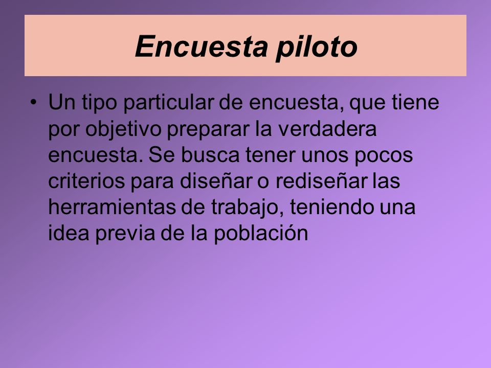 Encuesta piloto