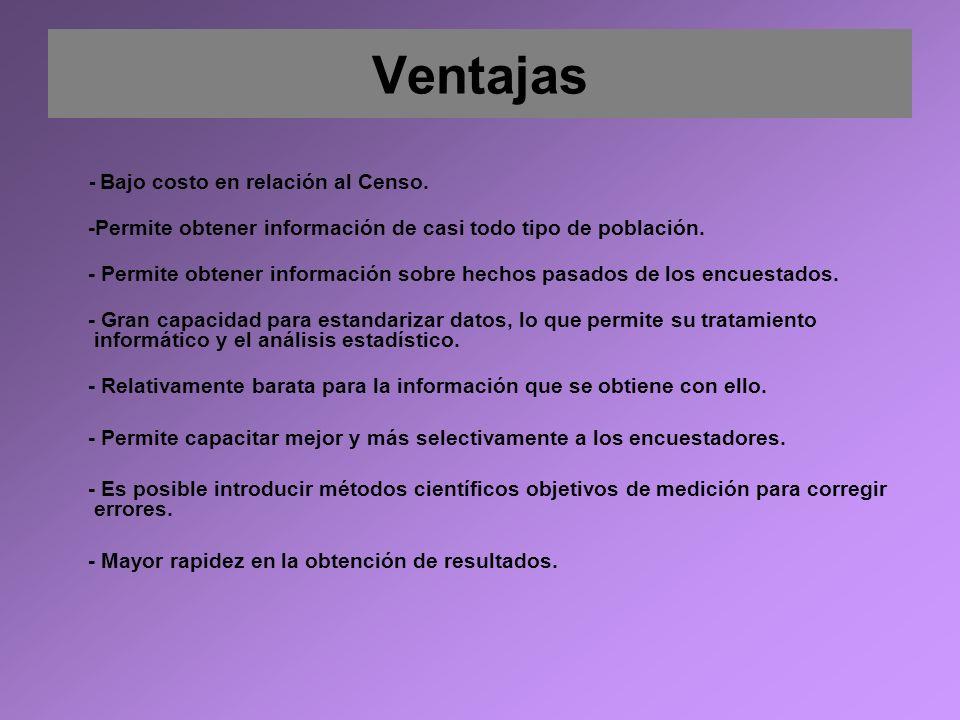 Ventajas -Permite obtener información de casi todo tipo de población.