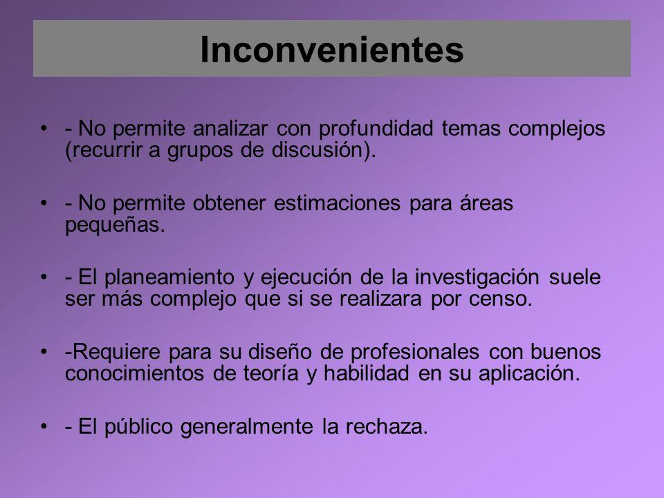 Inconvenientes - No permite analizar con profundidad temas complejos (recurrir a grupos de discusión).