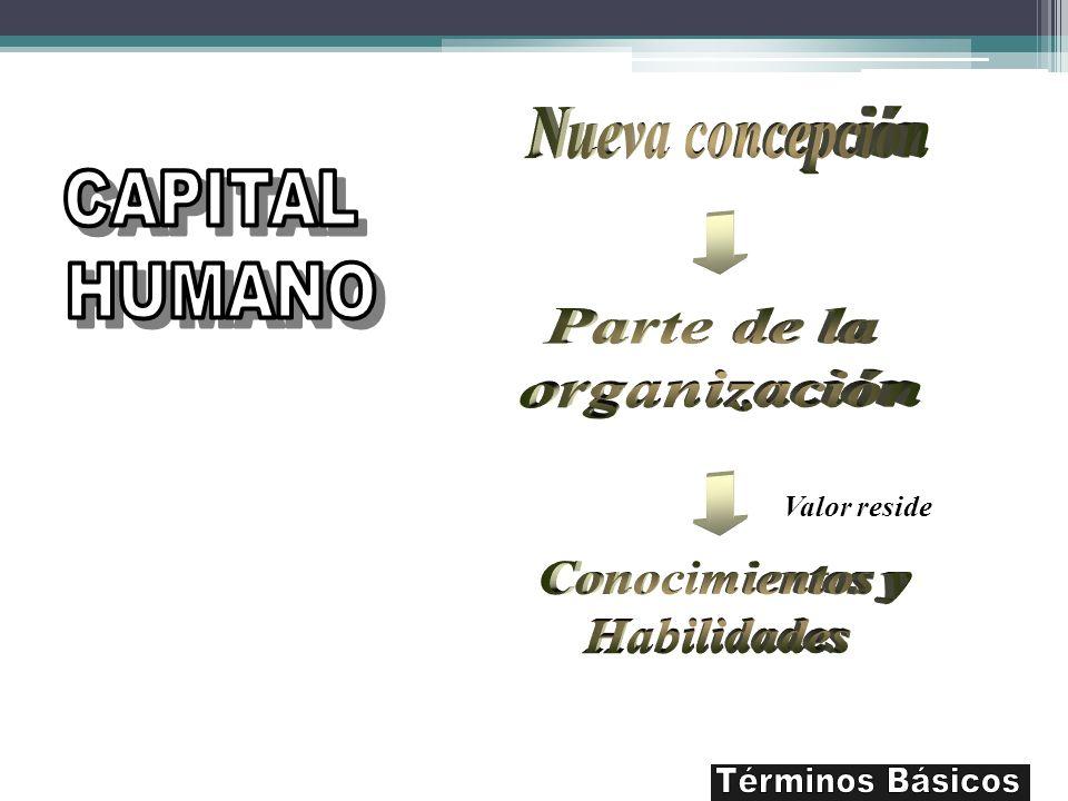 Nueva concepción CAPITAL HUMANO Parte de la organización