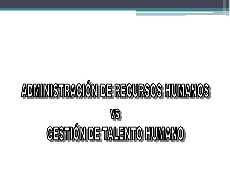ADMINISTRACIÓN DE RECURSOS HUMANOS GESTIÓN DE TALENTO HUMANO