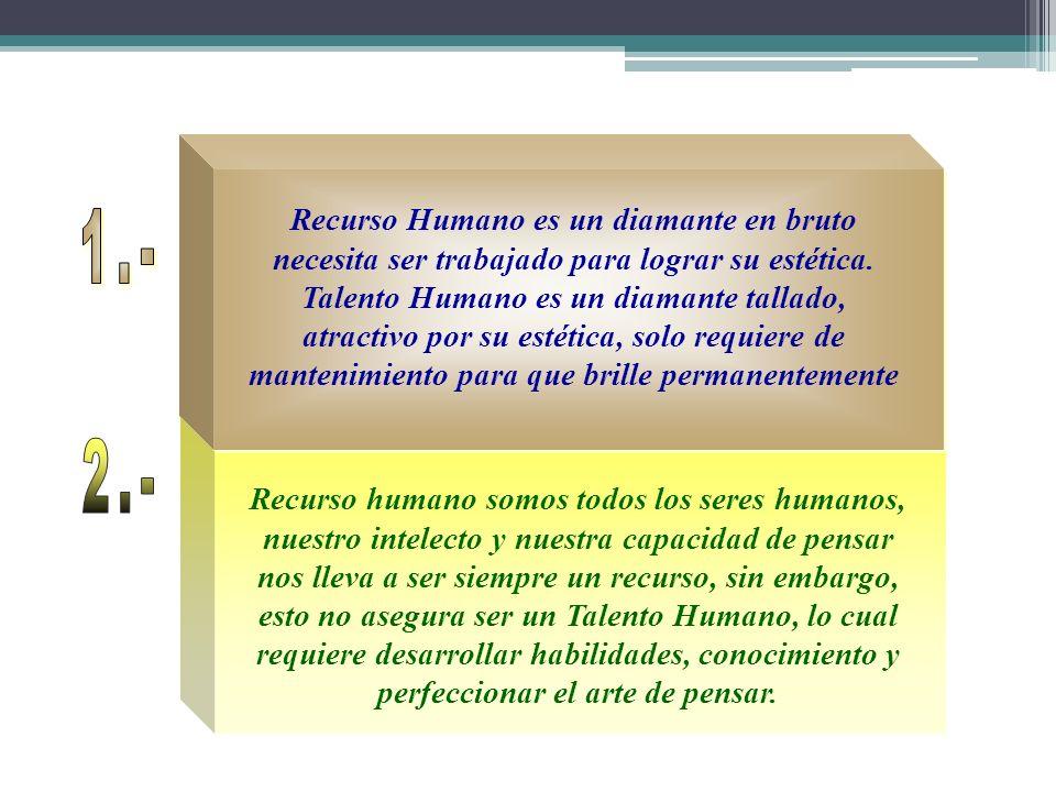 1.- Recurso Humano es un diamante en bruto necesita ser trabajado para lograr su estética.