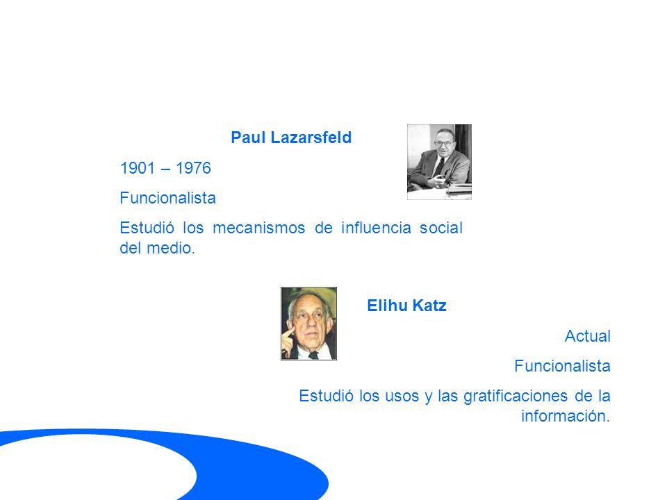 Paul Lazarsfeld 1901 – 1976. Funcionalista. Estudió los mecanismos de influencia social del medio.