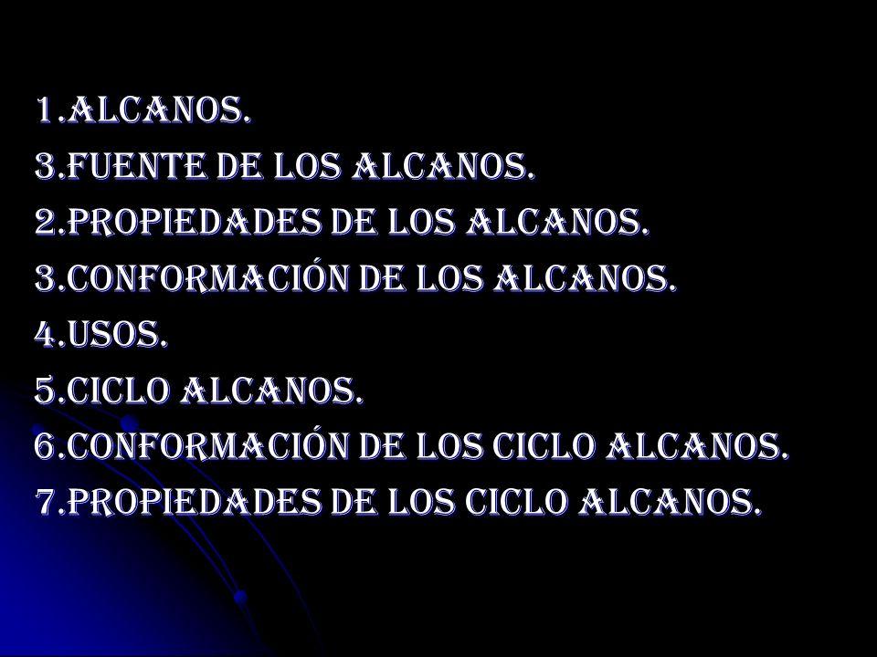 1.Alcanos. 3.Fuente De los alcanos. 2.Propiedades De Los Alcanos. 3.Conformación De Los Alcanos. 4.Usos.