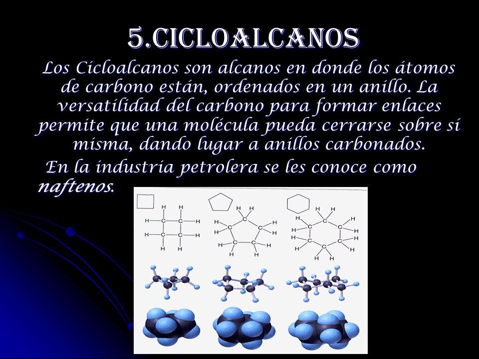 5.Cicloalcanos En la industria petrolera se les conoce como naftenos.