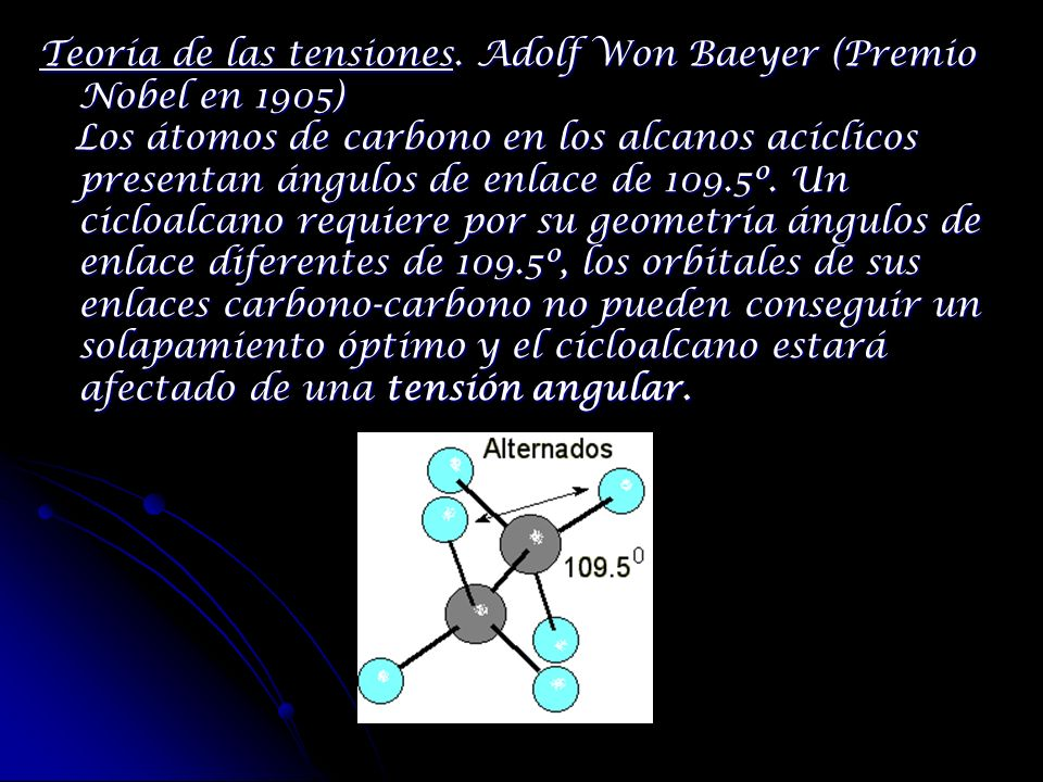 Teoría de las tensiones. Adolf Won Baeyer (Premio Nobel en 1905)