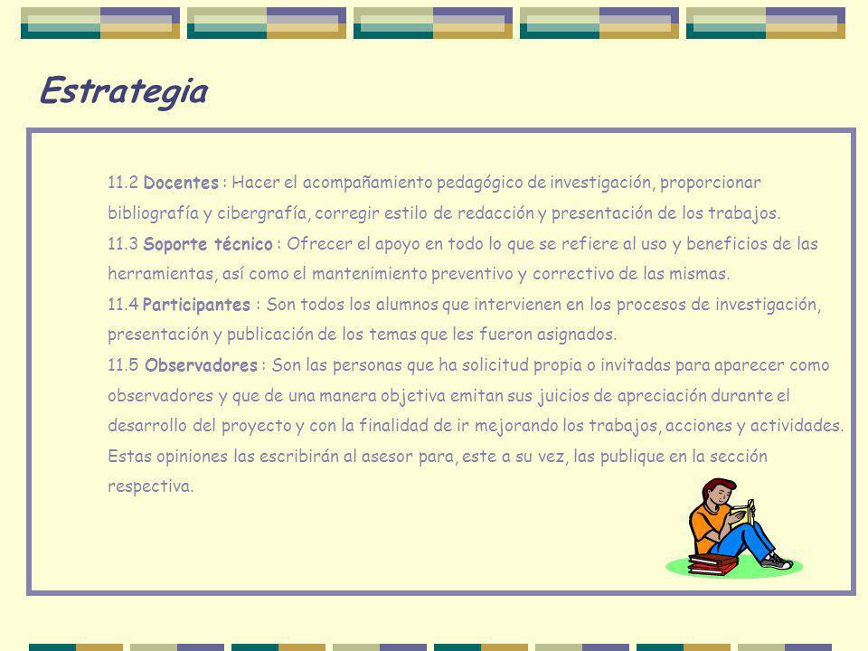 Estrategia 11.2 Docentes : Hacer el acompañamiento pedagógico de investigación, proporcionar.