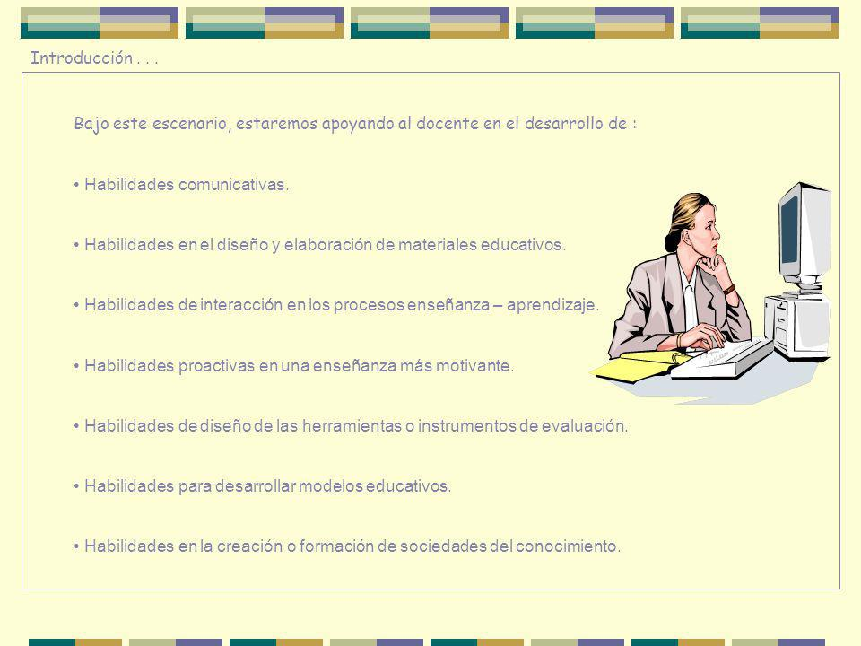 Introducción . . . Bajo este escenario, estaremos apoyando al docente en el desarrollo de : Habilidades comunicativas.