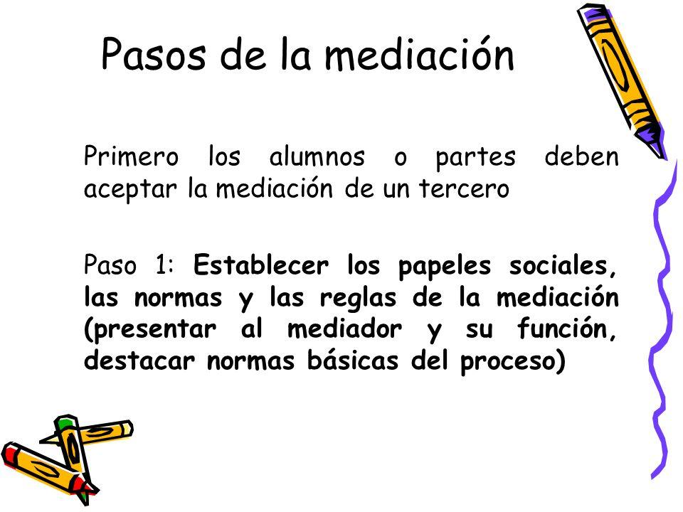Pasos de la mediación Primero los alumnos o partes deben aceptar la mediación de un tercero.