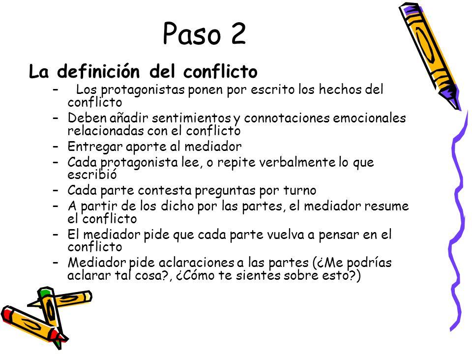 Paso 2 La definición del conflicto