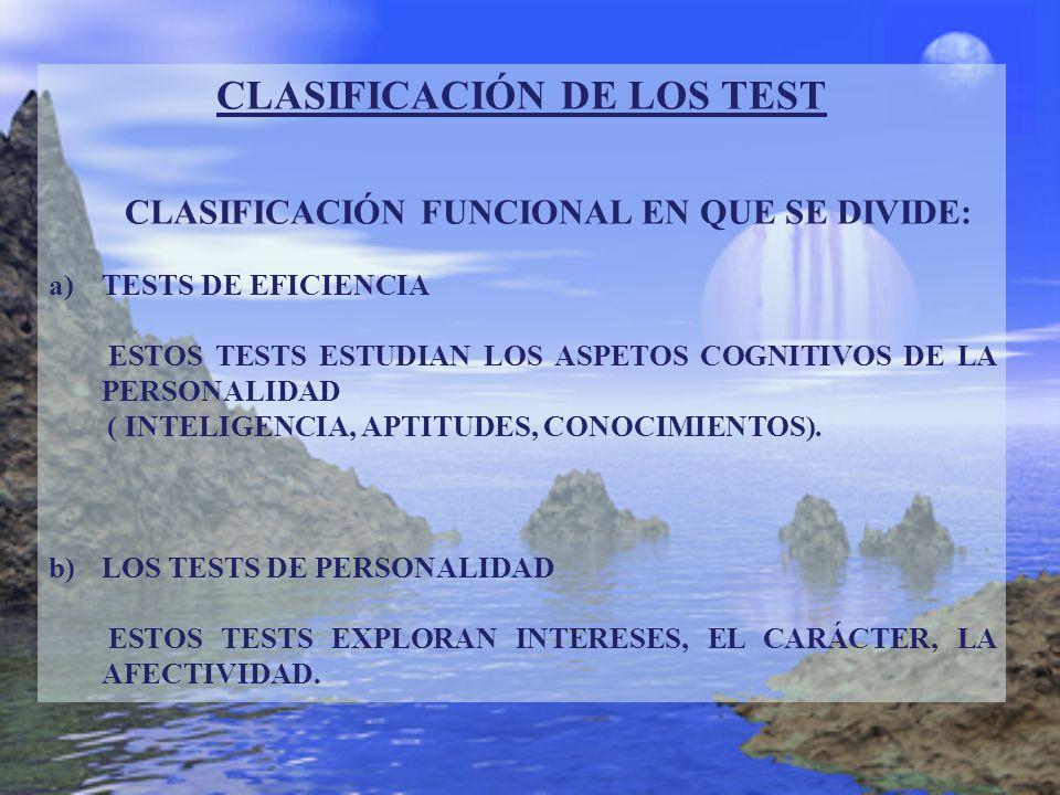 CLASIFICACIÓN DE LOS TEST CLASIFICACIÓN FUNCIONAL EN QUE SE DIVIDE: