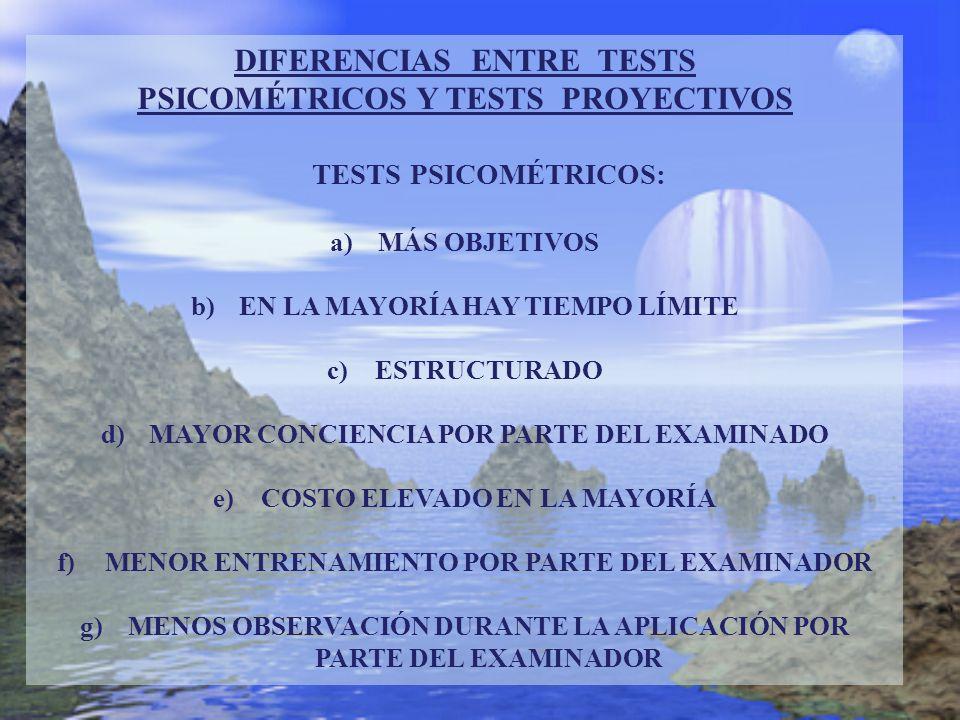 DIFERENCIAS ENTRE TESTS PSICOMÉTRICOS Y TESTS PROYECTIVOS