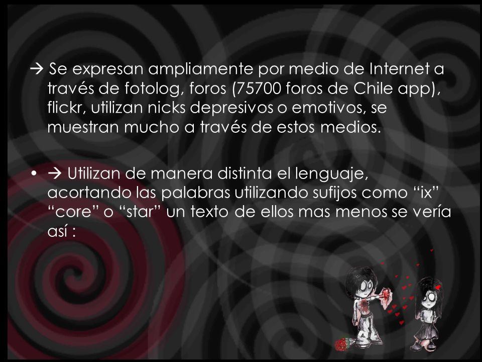  Se expresan ampliamente por medio de Internet a través de fotolog, foros (75700 foros de Chile app), flickr, utilizan nicks depresivos o emotivos, se muestran mucho a través de estos medios.