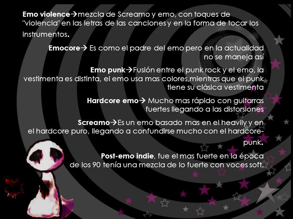 Emo violencemezcla de Screamo y emo, con toques de violencia en las letras de las canciones y en la forma de tocar los instrumentos.