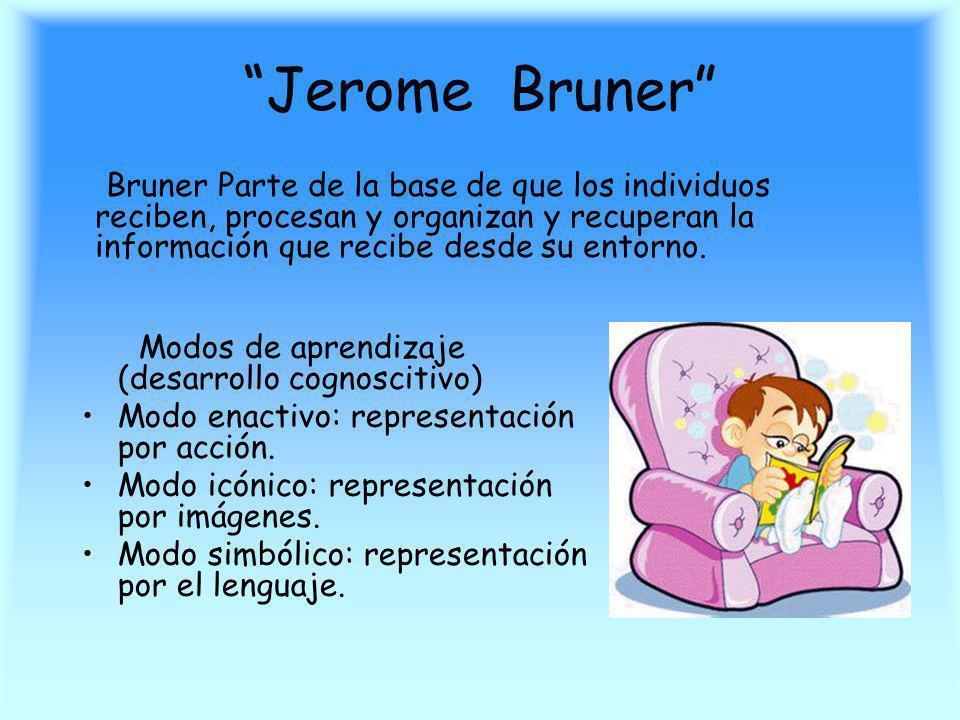 Jerome Bruner Bruner Parte de la base de que los individuos reciben, procesan y organizan y recuperan la información que recibe desde su entorno.