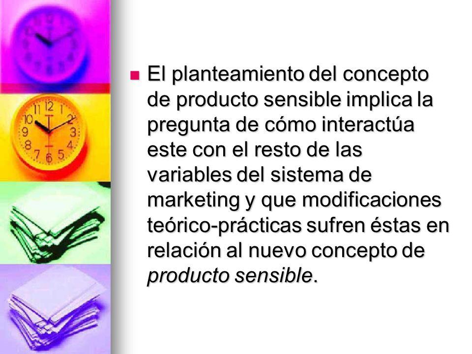 El planteamiento del concepto de producto sensible implica la pregunta de cómo interactúa este con el resto de las variables del sistema de marketing y que modificaciones teórico-prácticas sufren éstas en relación al nuevo concepto de producto sensible.