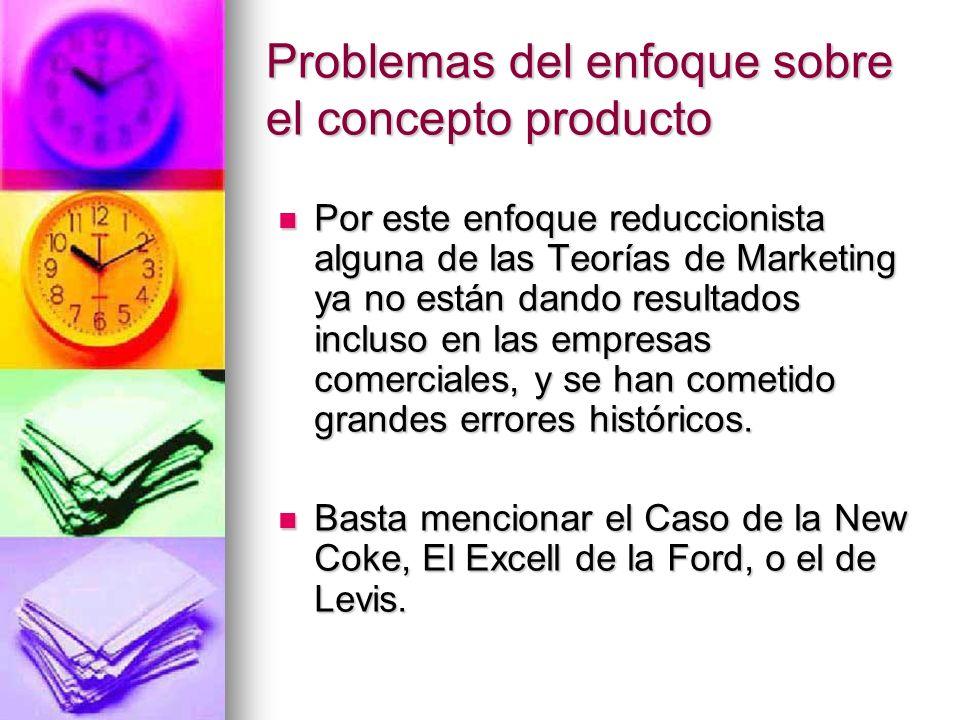 Problemas del enfoque sobre el concepto producto