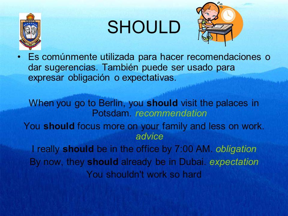 SHOULD Es comúnmente utilizada para hacer recomendaciones o dar sugerencias. También puede ser usado para expresar obligación o expectativas.