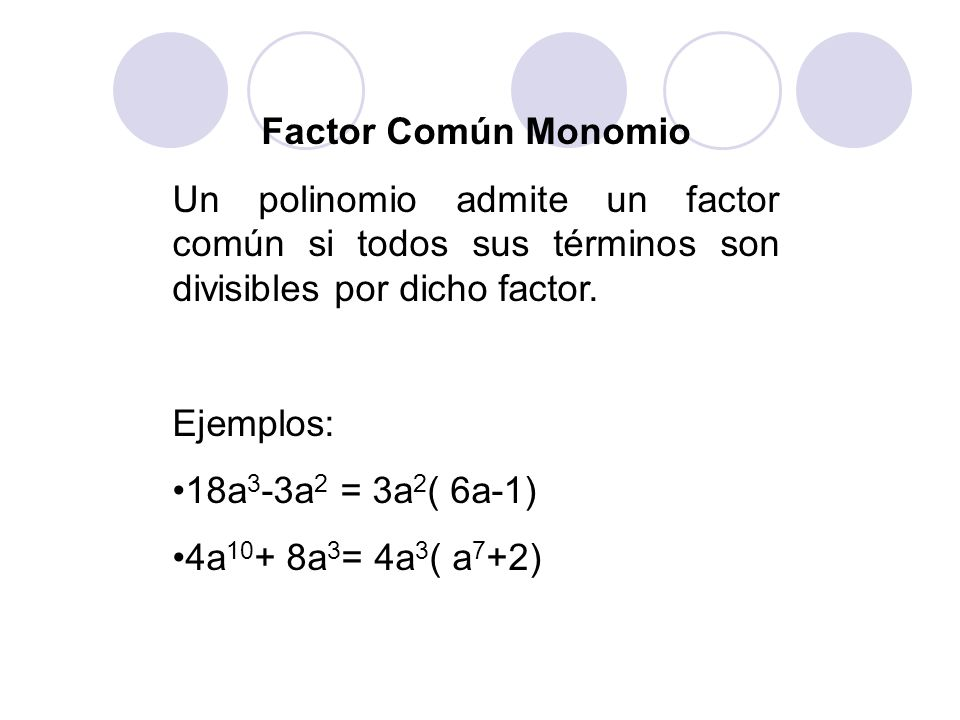 Factor Común Monomio Un polinomio admite un factor común si todos sus términos son divisibles por dicho factor.
