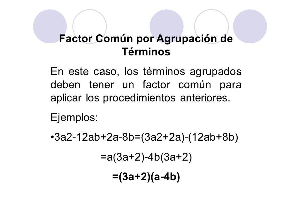 Factor Común por Agrupación de Términos