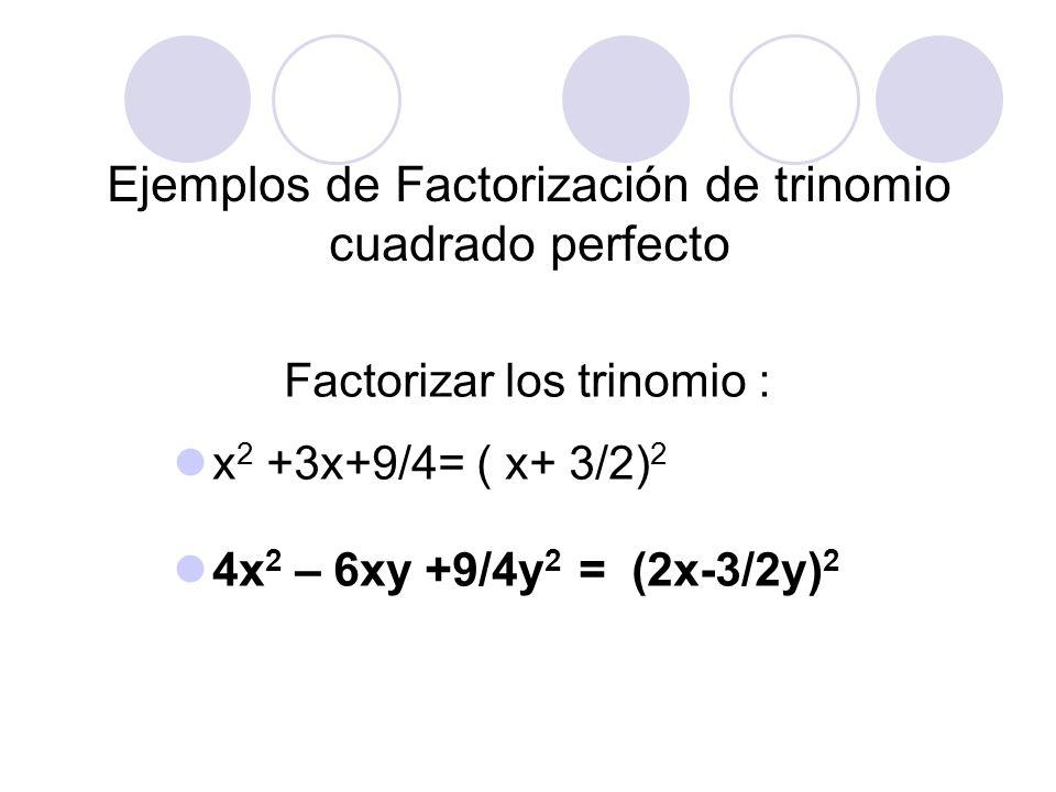 Ejemplos de Factorización de trinomio cuadrado perfecto