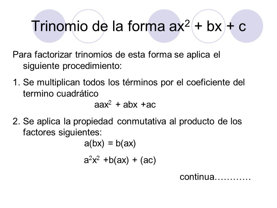 Trinomio de la forma ax2 + bx + c